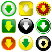 Download icons. Vector set. — Stock Vector