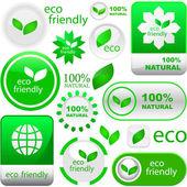 生态友好、 天然和有机标签集. — 图库矢量图片