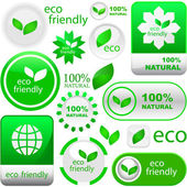 Set of eco friendly, natural and organic labels. — 图库矢量图片