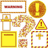 Warning vector label. Vector template — Stock Vector