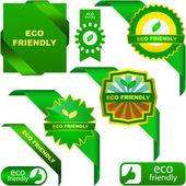 Conjunto de etiquetas de eco amigable, natural y orgánico — Vector de stock