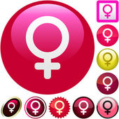 Female symbol. Vector button set. — Stock Vector