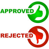 Approved and rejected buttons. Vector set — Stock Vector