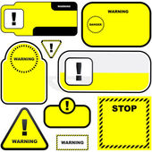 Warning vector label. Vector template. — Vettoriale Stock