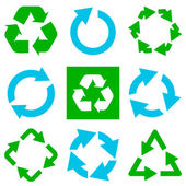 Recycle symbol collection. Vector illustration — Stock Vector