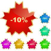 Naklejki szablony z różnych wartości procentowe zniżki — Wektor stockowy