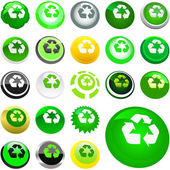 Recycle symbol button. Vector set. — Vettoriale Stock