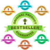 Bestseller. vektor-garantie-label. vektor-satz. — Stockvektor