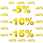 Discount sticker templates with different percentages — Stock Vector