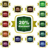 Discount sticker templates with different percentages — 图库矢量图片