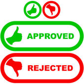 Approved and rejected stickers. — Stock Vector
