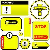 Etiqueta de advertencia de vector. plantilla Vector. — Vector de stock