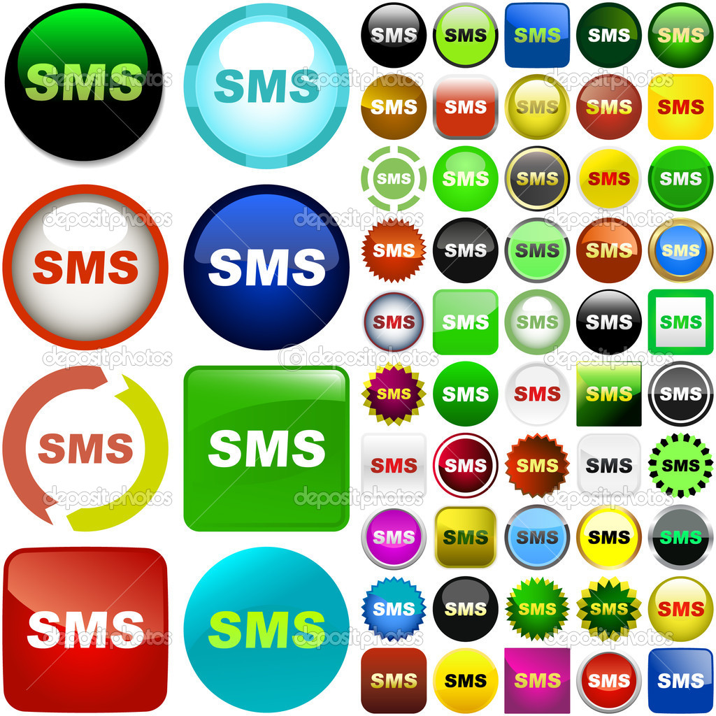Sms buttons. Vector set. — Stock Vector #1435355