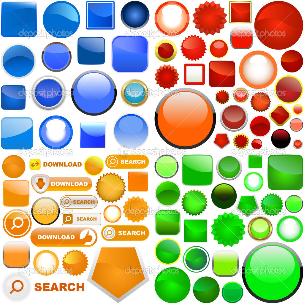 Web buttons for design. Great collection. — Stock Vector #1435432