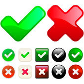 Approved and rejected buttons. — Vector de stock