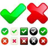 Onaylanmış ve reddedilen düğmeleri. — Stok Vektör