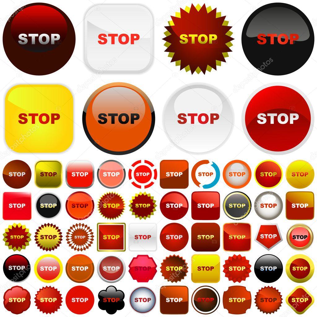停止按钮.为 web 设置矢量— 矢量图片作者 studiom1