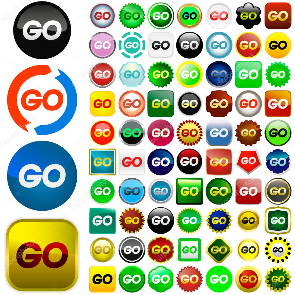 Go icon set. Vector set for web.  — Stock Vector #1441305