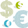 Vector dollar and euro signs. Vector great collection. — Stock Vector