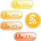Conjunto de botão Rss. ilustração vetorial. — Vetor de Stock