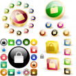 Royalty-Free Stock Vector Image: Padlock button set.