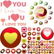 Stock Vector: Love button set