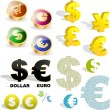 Vector dollar and euro signs. - Stock Vector