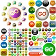 Stock Vector: GO buttons.