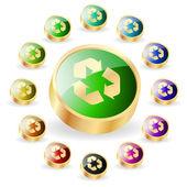 Recycle symbol button. Vector set. — Stock Vector