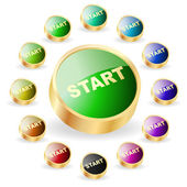 Start button. Vector set for web. — 图库矢量图片