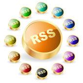 Rss-knappen för webben. vektor illustration. — Stockvektor