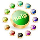 Help button. Vector set for web — Stock Vector