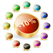 Discount button templates with different percentages — Stock Vector