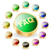 FAQ button collection. Vector set. — Stock Vector