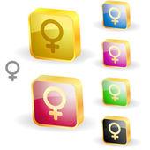 Female symbol. Vector button set. — Stock Vector