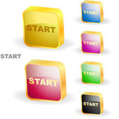 Start button. Vector set for web. — Cтоковый вектор