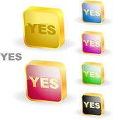 """""""YES"""" button. Vector set. — Stock Vector"""