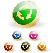 Botão de reciclar. set vector. — Vetor de Stock