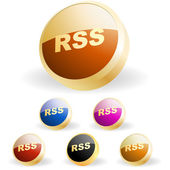 RSS glossy buttons. Vector illustration. — ストックベクタ
