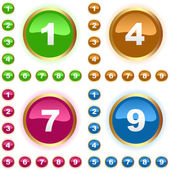 Number buttons. Vector set. — Stock Vector