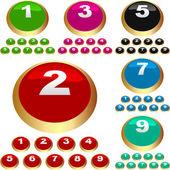 кнопки с цифрами. векторный набор. — Cтоковый вектор