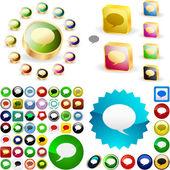 Konuşma balonu düğmeleri. — Stok Vektör