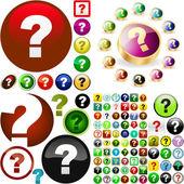 Question button. Vector set. — Stock Vector