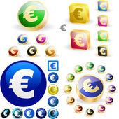 Euro button set. — Stock Vector