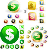 Dollar icon set. — Stock Vector
