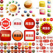 RSS glossy buttons. — Stock Vector