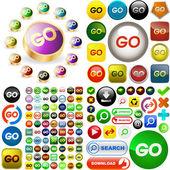 GO buttons. — Stock Vector