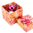 Box with fur-tree toys — Stock Photo #1436561