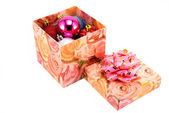 Box with fur-tree toys — Stock Photo