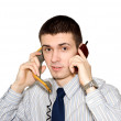 The young man speaks by phone — Stock Photo #1446352